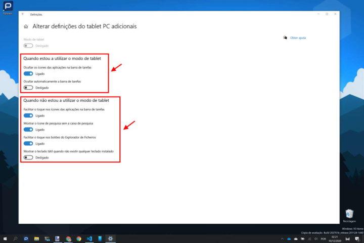 Windows 10 tablet modo configurar opções