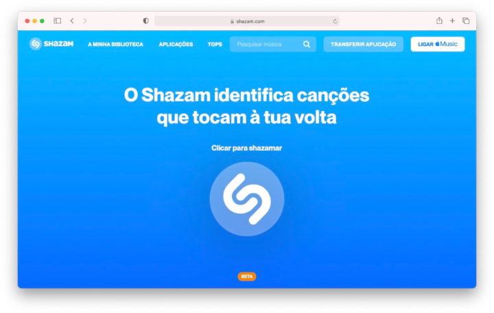 Imagem Shazam web