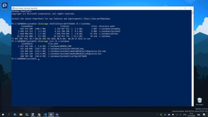 Windows 10 espaço ocupado disco DiskUsage