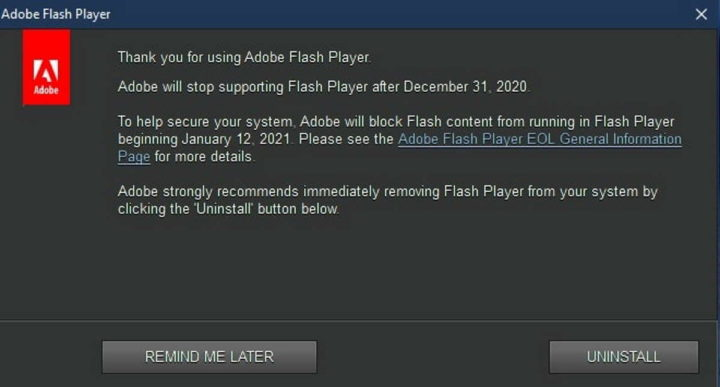 Flash Adobe Windows 10 notificação tecnologia