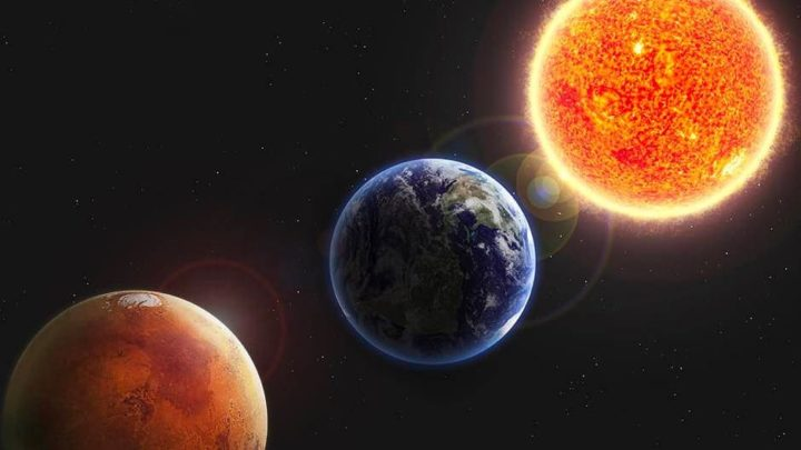 Illustration of Mars, Earth and Sun