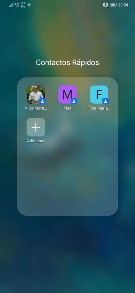 Android contactos favoritos ecrã pasta