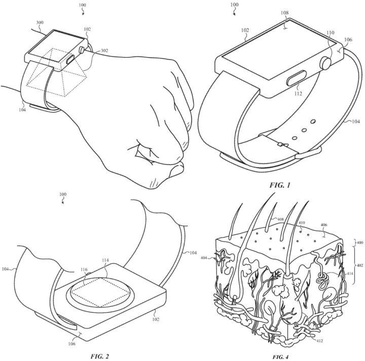 Ilustração de tecnologia de autenticação na patente para Apple Watch