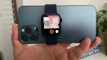 Imagem Apple Watch como ecrã vlogging com o iPhone