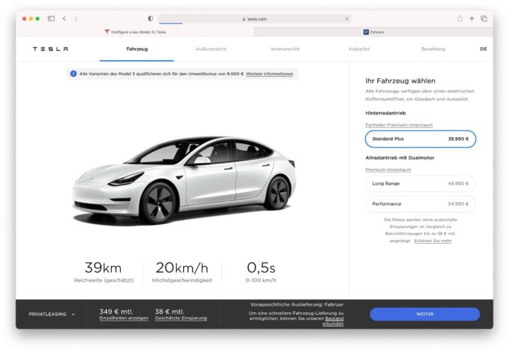 Imagem preços para Portugal do Model 3 da Tesla