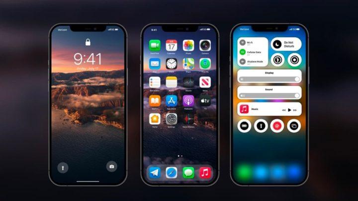 Ilustração iOS 15 no iPhone 12 Pro