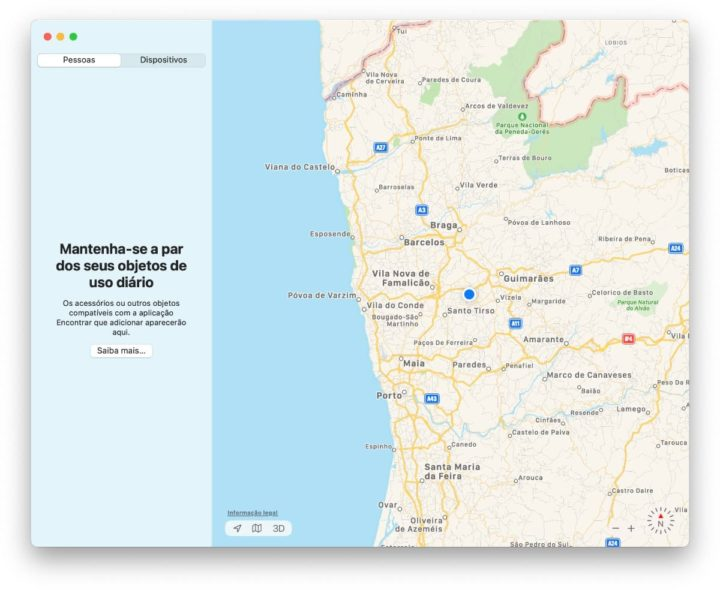 App Encontrar no macOS Big Sur para AirTags