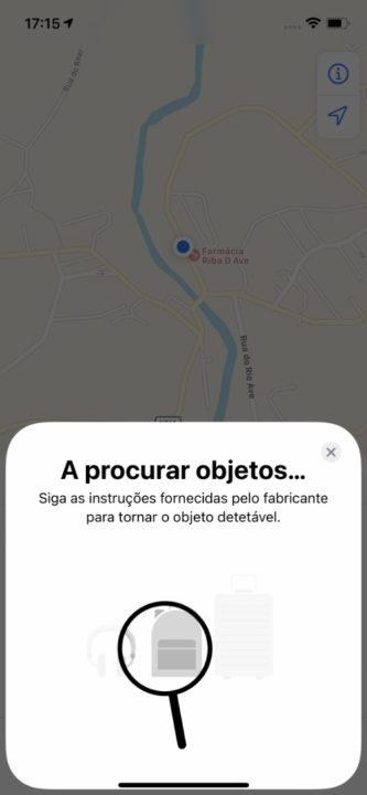 menu AirTags na app Encontrar