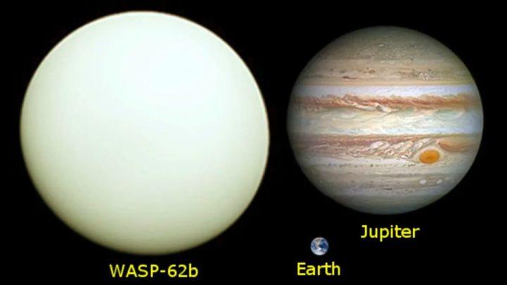 Imagem que compara Júpiter com WASp-62b e com a Terra