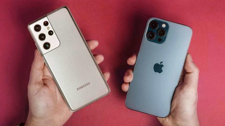 Galaxy S21 iPhone 12 quedas resistência vídeo