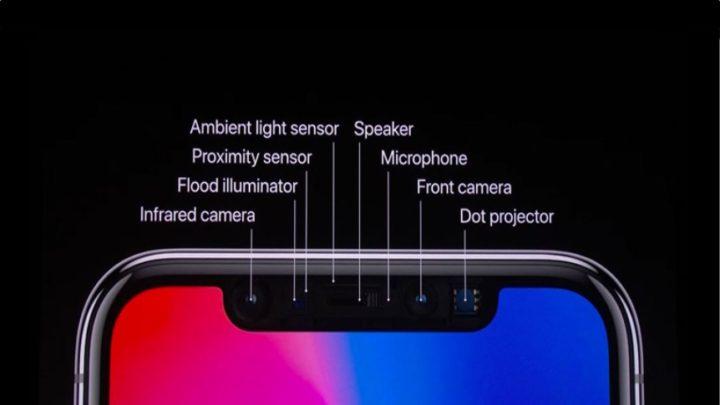 Ilustração do módulo face ID da Apple no iPhone X