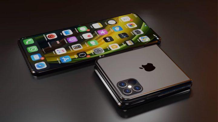 Ilustração do iPhone 13 dobrável com Touch ID