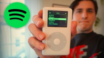 Imagem de um iPod da Apple com músicas Spotify