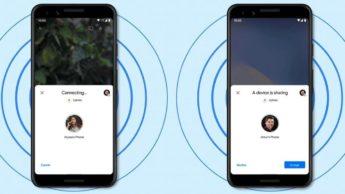 Ilustração no Android 12 da função WiFi partilha via nearby share