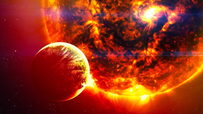 Ilustração do fim do Sol e da Terra