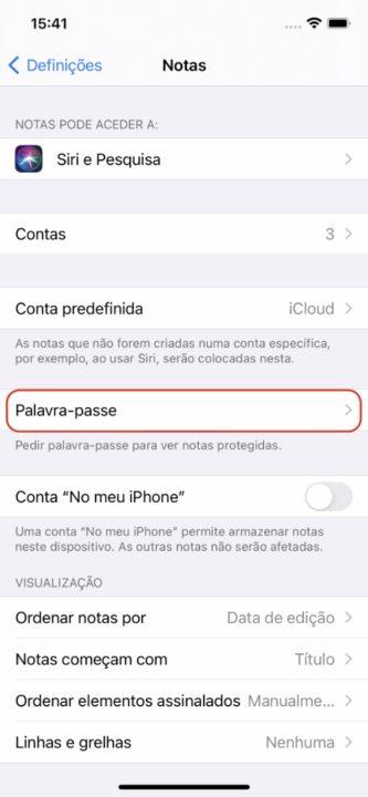 Imagem da app Notas em iOS