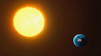 Ilustração da Terra em relação ao Sol
