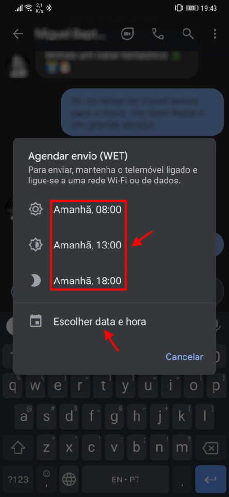 mensagens SMS agendar Google Android