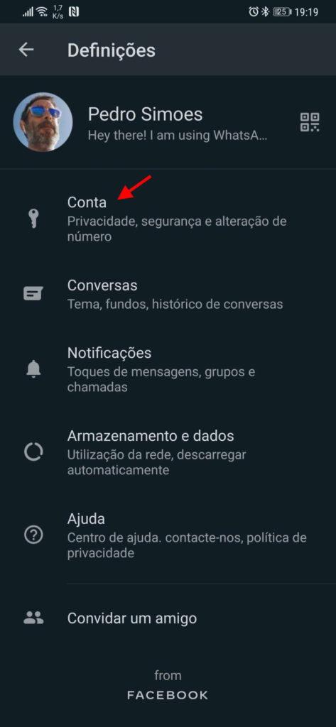 Excluir dados de serviço da conta do WhatsApp