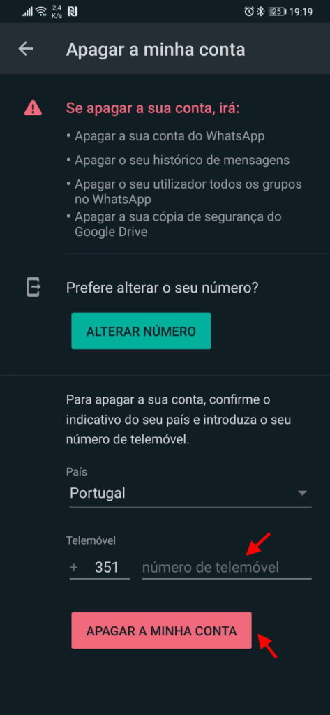WhatsApp apagar conta dados serviço