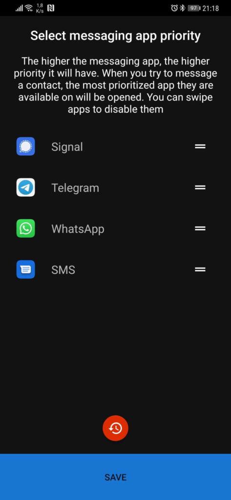 contactos mensagens app signal telegram
