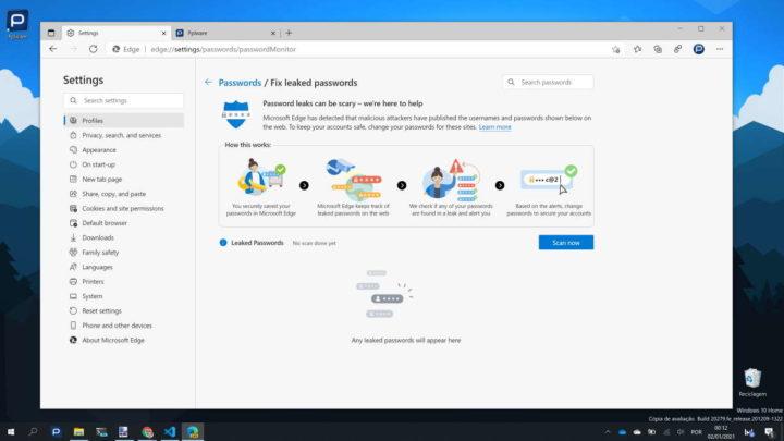 Edge Microsoft browser passwords dados