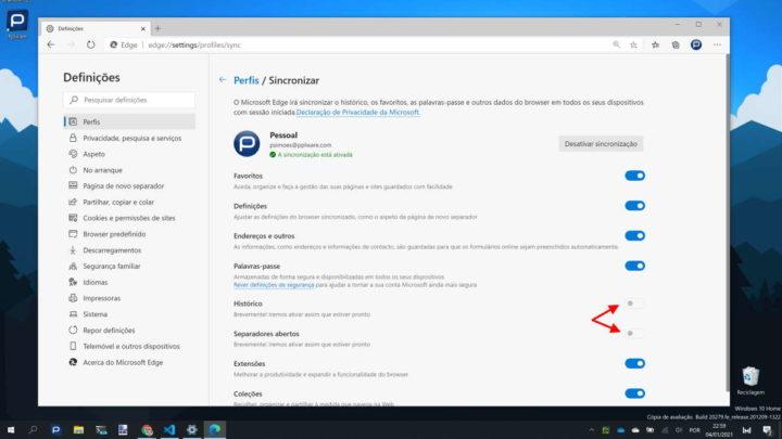 Edge browser sincronizar histórico separadores abertos
