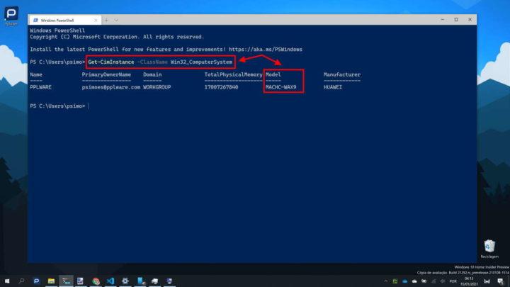 Windows 10 modelo PC app informação