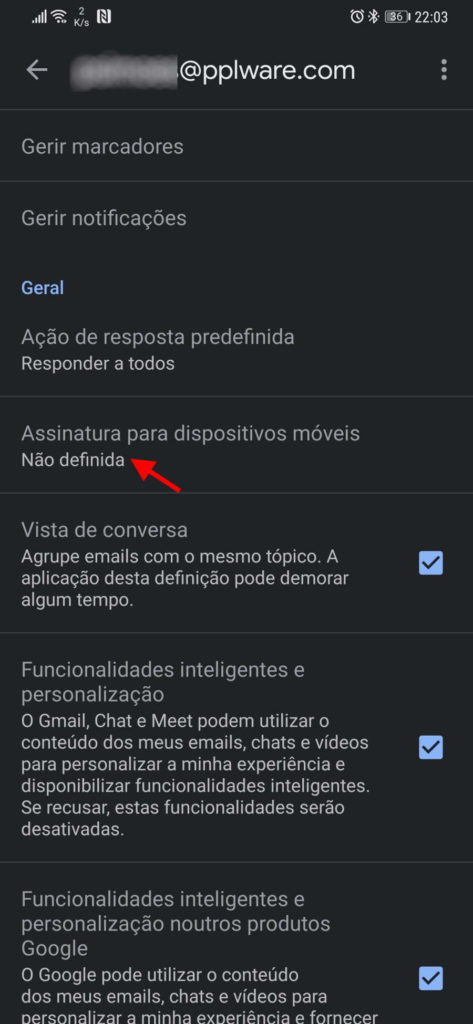 Gmail Android assinatura mensagens smartphone