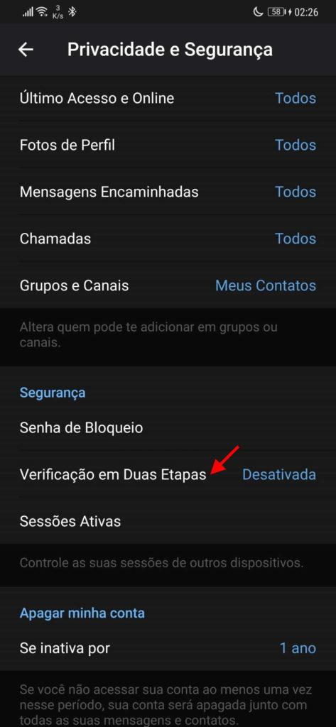 Telegram segurança senha etapas código