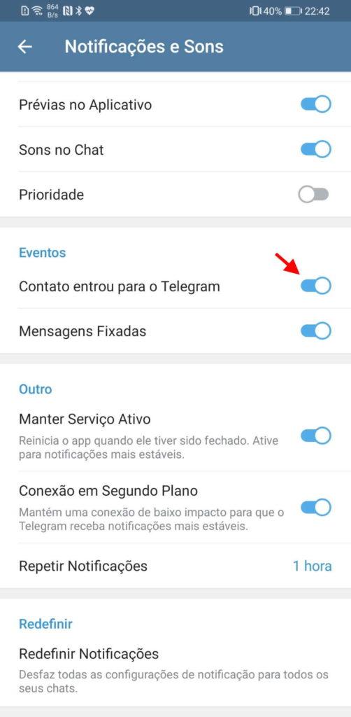 Telegram opções WhatsApp configurar serviço