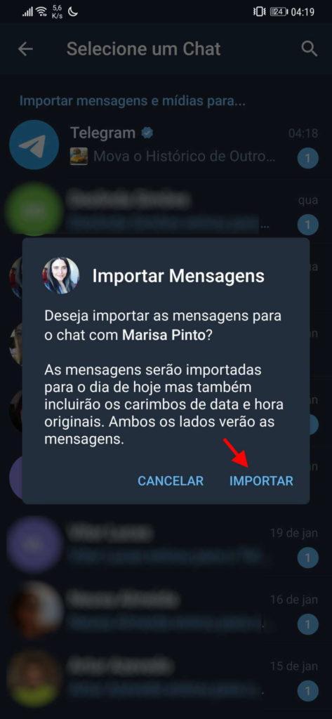 Telegram WhatsApp importar mensagens conversas