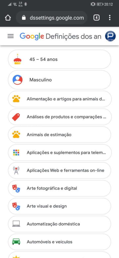 Google dados utilizador publicidade informação
