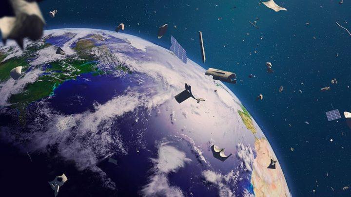 Ilustração do lixo espacial ao redor da Terra