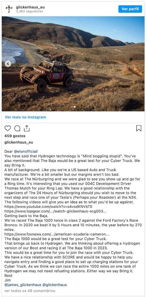 Imagem do desafio feito no Instagram a Elon Musk