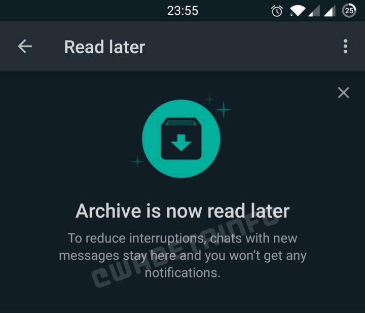 WhatsApp archive messages read late