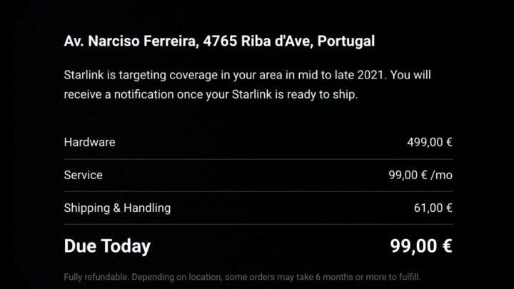 Portugal: Internet via Starlink por 100 euros por mês (+400€ de hardware)