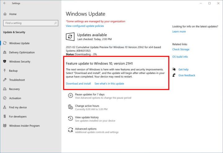 Windows 10 atualização novidades 21H1 Microsoft