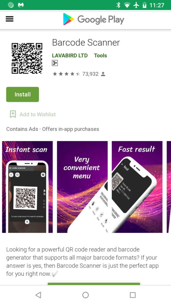 Android malware app publicidade Barcode Scanner