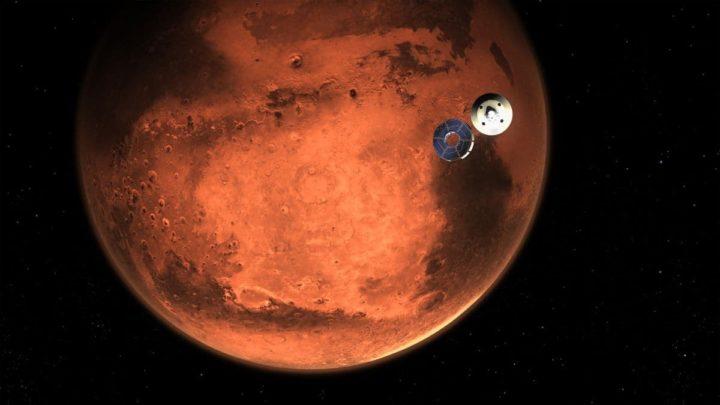 Ilustração da sonda da NASA, Perseverance, a caminho de Marte para aterrar o rover no solo marciano