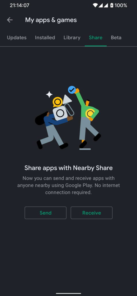 Nearby Share apps Play Store partilhar Android