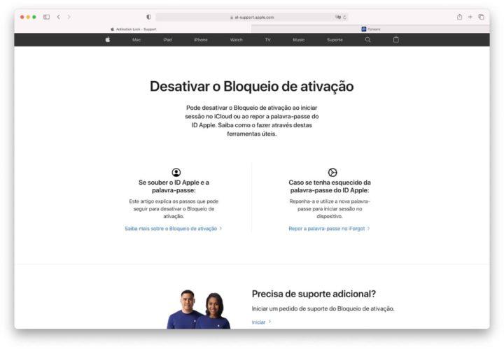 Imagem do site que ajuda o utilizador do iPhone a desativar o Bloqueio de ativação