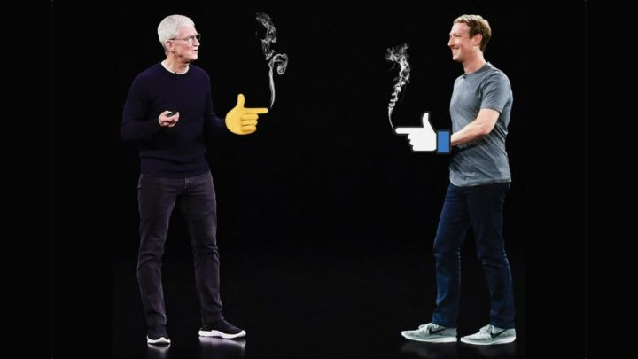 Imagem Mark Zuckerberg contra Tim Cook