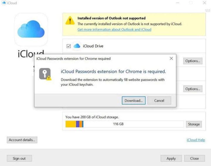 Apple iCloud extensão Chrome Windows