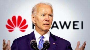 Ilustração Joe Biden sobre Huawei