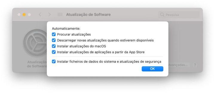 Imagem sistema de atualização e atenção permanente do macOS