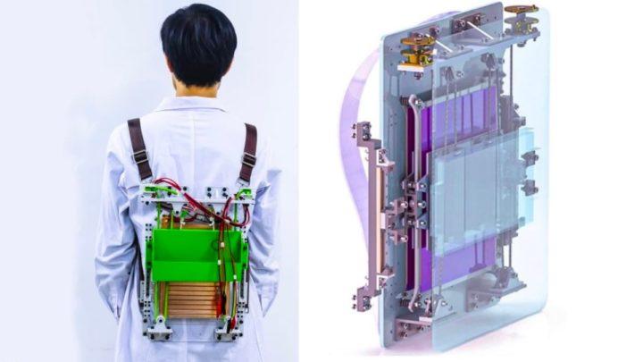 Imagem de mochila que produz energia elétrica