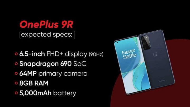 OnePlus 9R smartphones relógio apresentação