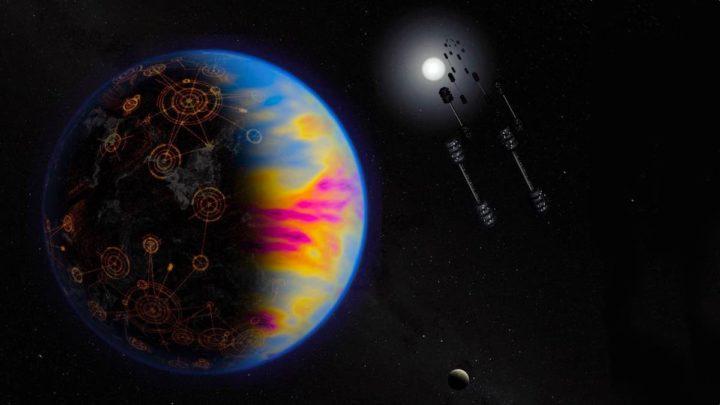 Ilustração da NASA sobre sinais de vida extraterrestre através da poluição