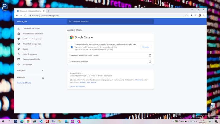 Chrome browser Google atualizar segurança